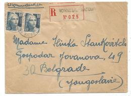 GANDON 10FR GRAVE PAIRE LETTRE REC BONNEUIL 1946 POUR YOUGOSLAVIE AU TARIF - 1945-54 Marianne De Gandon