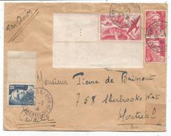 GANDON 10F GRAVE+3FRX2+PA 50FR LETTRE AVION BANUYLS 25.7.1946 PPOUR LE CANADA TARIF RELATIONS - 1945-54 Marianne (Gandon)