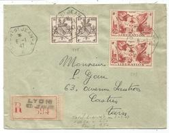 N°735 PAIRE + 739 PAIRE LETTRE REC C. HEX LYON ST JEAN 6.1.1947   AU TARIF - 1941-66 Armoiries Et Blasons