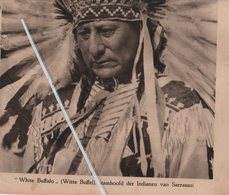 """SARRASANI INDIANEN """"WHITE BUFFALO """" STAMHOOFD..1932..ROODHUIDEN OP BEZOEK MET HET CIRCUS IN ANTWERPEN / SCHEPEN JUNES - Vecchi Documenti"""