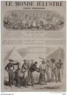 Expédition Du Mexique - Les Artilleurs De La Garde Distribuant Leurs Restes De Biscuit Aux Galériens- Page Original 1863 - Historical Documents