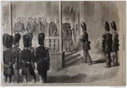 Napoléon III - L'Empereur Remettant Aux Sergents Du Régiment Des Grenadiers De La Garde Des Drapeaux- Page Original 1863 - Historical Documents