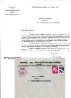 FEUQUIERES EN VIMEU MAIRIE LETTRE ENTETE ET ENVELOPPE AVEC CACHET DE LA MAIRIE 2 TIMBRES ANNEE 1971 PAR MR LAGNEAUX - France