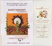"""Etiquette Et Contre étiquette 76° SAINT VINCENT TOURNANTE 2020 """" GEVREY-CHAMBERTIN 2017 """" Cuvée St Vincent _[ev610] - Bourgogne"""