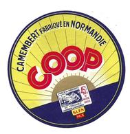 ETIQUETTE De FROMAGE..CAMEMBERT Fabriqué En NORMANDIE ( Calvados 14-S)..COOP..S.L.F.N. - Cheese