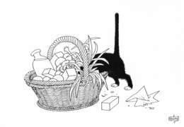Albert DUBOUT - Editions Jean Dubout N'D 47 - CHAT - Panier En Osier - Dubout
