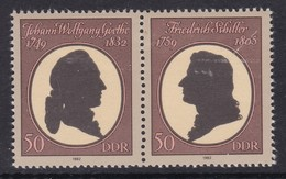 PAIRE NEUVE D'ALLEMAGNE ORIENTALE - J. W. GOETHE ET F. SCHILLER N° Y&T BF 64 - Writers