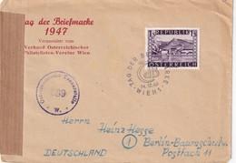 AUTRICHE 1947 LETTRE CENSUREE DE WIEN TAG DER BRIEFMARKE - 1945-60 Brieven