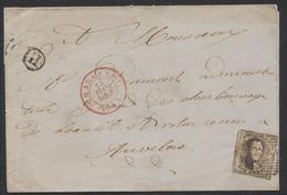 """Médaillon - N°6 Sur LSC Obl P25 çàd Charleroy (1853) + Boite Rurale """"H"""" (Gilly) Vers Auvelais. - 1851-1857 Médaillons (6/8)"""