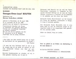 Devotie Doodsprentje Overlijden - Oudstrijder Georges Bouten - Moorslede 1885 - 1969 - Décès