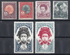Indochina Mix Chiffre Taxe 2/5 + 1C + Annam Postes 15 + 30C + 1/5C + 1 Piastre - Usados