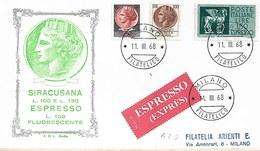 Fdc Rodia - Italia: SIRACUSANA L. 100 130 Ed ESPRESSO(1960); Viaggiata Espresso; AF - 6. 1946-.. República