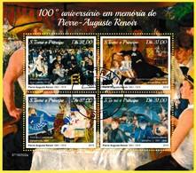Bloc Oblitéré De 4 Timbres-poste - 100e Anniversaire à La Mémoire De Pierre-Auguste Renoir - Sao Tome Et Principe 2019 - Sao Tomé Y Príncipe