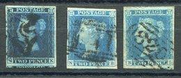 RC 15974 GRANDE BRETAGNE COTE 440€ N° 4 X3 2p BLEU 3 NUANCES VERY FINE USED - TB - 1840-1901 (Victoria)