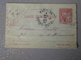 CARTE  PNEUMATIQUE PARIS GRAND HOTEL 1904 - Pneumatiques