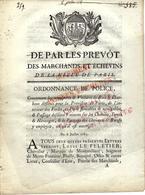 1785 PARIS APPROVISIONNEMENT & CIRCULATION à Paris  BOIS FLOTTES BOIS & CHARBONS PASSAGE DES VOITURES  REGLEMENTATION - Historical Documents