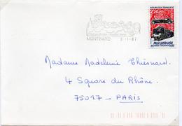 France N° 2450 Y. Et T. Côte D'Or Montbard Flamme Illustrée Du 09/01/1987 Sur Lettre - Marcophilie (Lettres)