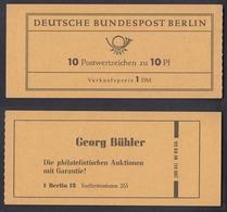 Berlin Markenheftchen 3d RLV I Rechts Offen Bedeutende Deutsche 10 Pf Postfrisch - Berlin (West)