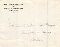 Enveloppe De L'école De Roncherolles Château De Roncherolles Bolbec Seine Maritime à Piednoël - France