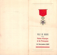 Menu Ville De Bolbec Caisse D'Epargne 1937 - Menus