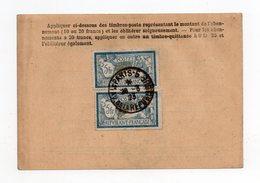 !!! CARTE D'ABONNEMENT A LA POSTE RESTANTE DE 1923, AFFRANCH PAIRE DU 5F MERSON - 1921-1960: Periodo Moderno