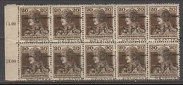 ☀ CROATIA SHS 1918 Yugoslavia - 10 Filler Karlo, Block X10 With Margin Numbers** MNH !A Basic Hungary Stamps - Croatie