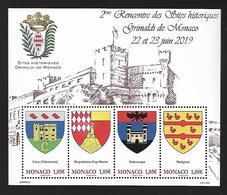 Monaco 2019 - Yv N° F3201 ** - 2ème Rencontre Des Sites Historiques Grimaldi (timbres 3201 à 3204) - Ongebruikt