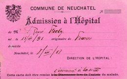 """Document - """" Interné Français En SUISSE""""-Admission à L'Hôpital- - Oorlog 1914-18"""