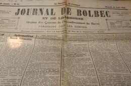 Journaux - Quotidiens > 1900 - 1949 Journal De Bolbec 1926 Rouville Gruchet Lillebonne Bierville Beuzevillette - Journaux - Quotidiens