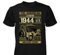T SHIRT Noir JEEP THE AMERICAN LEGEND US WW2  WILLYS FORD 4X4 MB GPW M 201 TEE - Véhicules