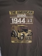 T SHIRT Beige Kamel JEEP THE AMERICAN LEGEND US WW2  WILLYS FORD 4X4 MB GPW M 201 TEE - Véhicules