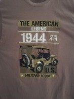 T SHIRT Vert Olive JEEP THE AMERICAN LEGEND US WW2  WILLYS FORD 4X4 MB GPW M 201 TEE - Véhicules