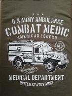T SHIRT Vert Olive DODGE WC 54 AMBULANCE COMBAT MEDIC WW2 US ARMY MEDICAL Dpt TEE - Véhicules