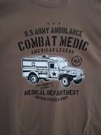 T SHIRT Beige Kamel DODGE WC 54 AMBULANCE COMBAT MEDIC WW2 US ARMY MEDICAL Dpt TEE - Véhicules