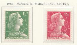 PIA - FRANCIA - 1955 - Uso Corrente - Marianna Di Muller  - (Yv 1010-11) - Francia