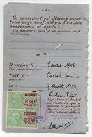 1956 - Timbres Fiscaux 1000fr Passeport En Paire Sur Feuillet De Passeport - Erinnophilie