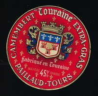 """Etiquette Fromage  Camembert Touraine Extra Gras 45%mg Paillaud Tours """" Blason Couronne"""" - Fromage"""