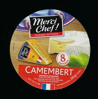 Etiquette Fromage  Camembert 8 Portions Merci Chef  Fromage De France Export - Fromage