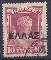 CRETE Posthorn Cancellation 37 (MOIPAI) On 1909 /1910 Cretan State 10 L. Red Overprinted With Large ELLAS Vl. 81 - Kreta