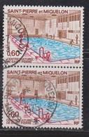 ST PIERRE & MIQUELON Scott # 429 Used Pair - Indoor Swimming Pool - St.Pierre Et Miquelon