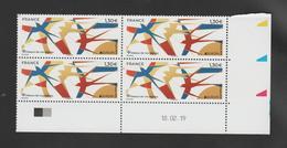 FRANCE / 2019 / Y&T N° 5320 ** : Europa (oiseaux De Nos Régions = Hirondelles) X 4 - Coin Daté 2019 02 18 - 2010-....