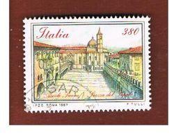 ITALIA REPUBBLICA  - SASS. 1811  -      1987    PIAZZE D' ITALIA: ASCOLI PICENO   -      USATO - 1946-.. République