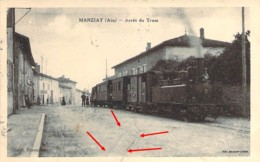 01 AIN  Gros Plan De L'Arrivée Du Tram Tramway à MANZIAT Carte En L'état - France