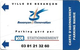 CARTE STATIONNEMENT BANDE MAGNÉTIQUE VILLE DE BESANÇON 25 DOUBS L'INNOVATION ABONNEMENT PARKING MAIRIE - Francia