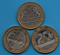 FRANCE LOT 3x 20 FRANCS 1993-1994 Saint Michel -  Jeux - Coubertin - France