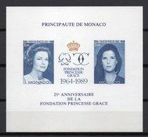 - MONACO Bloc Spécial N° 48a Neuf ** NON DENTELÉ - FONDATION PRINCESSE GRACE KELLY 1989 - - Blocks & Sheetlets
