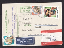 Italy: Registered Postcard To Netherlands, 3 Stamps, Kossuth, Label Not At Home, Card: EU Elections (traces Of Use) - 1946-.. République