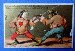 CHROMO DORÉE..CHOCOLAT LOUIT........GRENOUILLES HUMANISÉES..ESCRIME - Louit