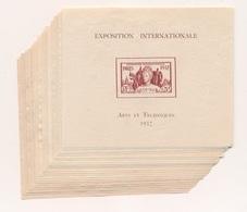 DI:564: SERIES COLONIALES: Lot Avec 23 Blocs Neufs Sans Gomme 1er Et 2ème Choix (manque : Guadeloupe) - 1937 Exposition Internationale De Paris