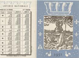 Calendrier Loterie Nationale 1951 Tirage 14 Novembre 1951 - Billets De Loterie